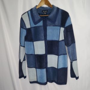 Denim & Co suede leather & crochet  lined jacket